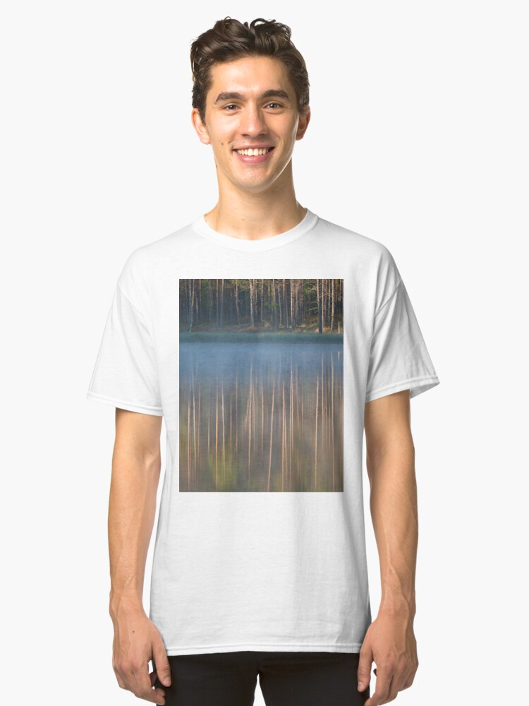 Alternate view of Forest reflecting to small lake at morning Classic T-Shirt