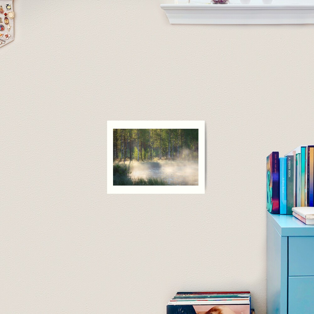 Small forest pond at sunrise Art Print