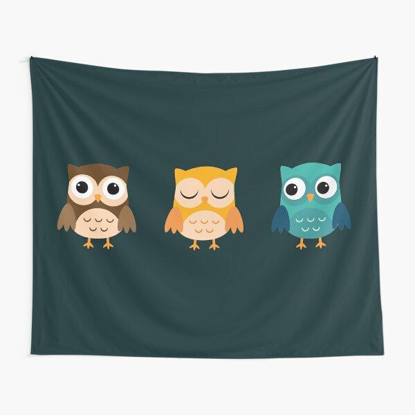 Cute Owls Chibi Tapestry