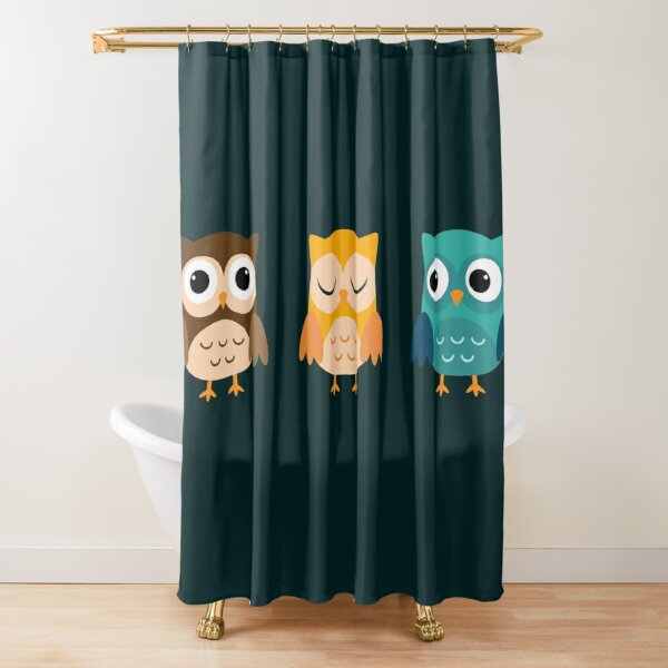 Cute Owls Chibi Shower Curtain