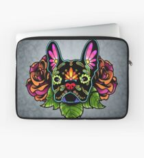 Day of the Dead French Bulldog in Black Sugar Skull Dog Laptop Sleeve