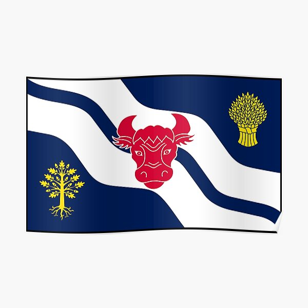 Oxfordshire Flag Stickers, Gifts and other Products Poster