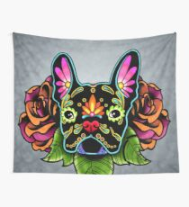 Day of the Dead French Bulldog in Black Sugar Skull Dog Wall Tapestry