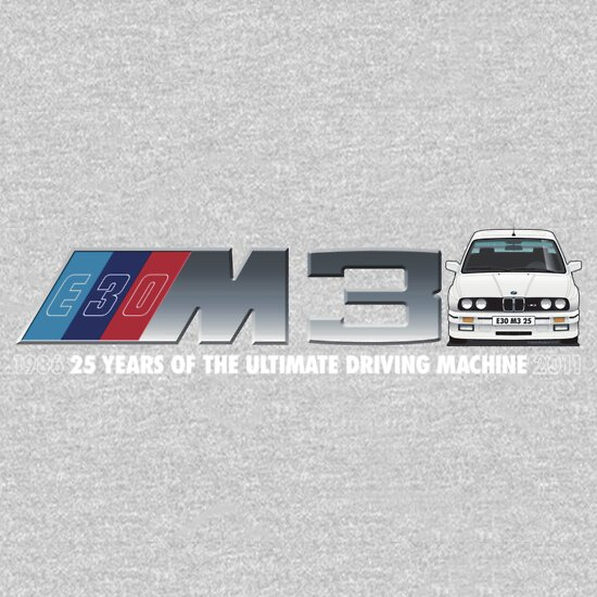 TShirtGifter presents: BMW E30 M3 25th Anniversary (Alpine White) White Text 2