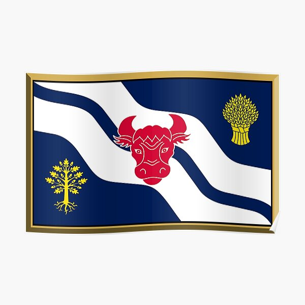 Oxfordshire Flag Stickers, Gifts and Products Poster