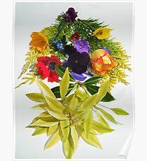 Rainbow Flower Collage Poster