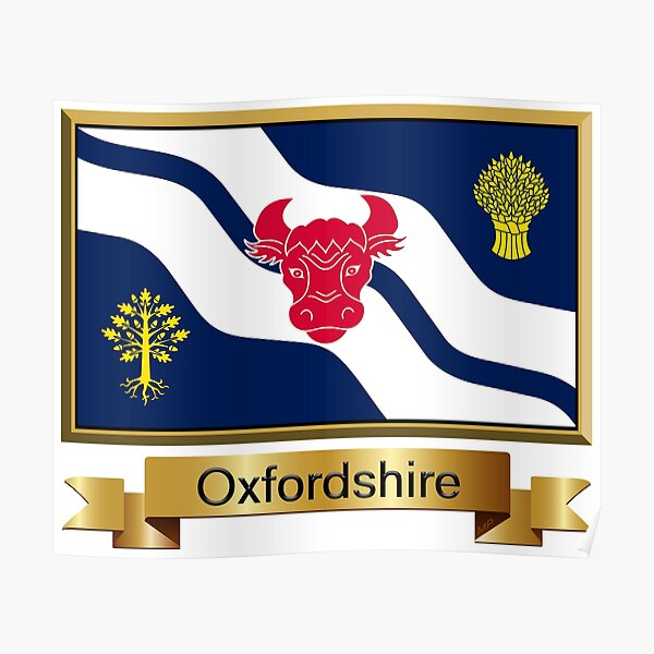 Oxfordshire Named Flag Stickers, Gifts and Products Poster