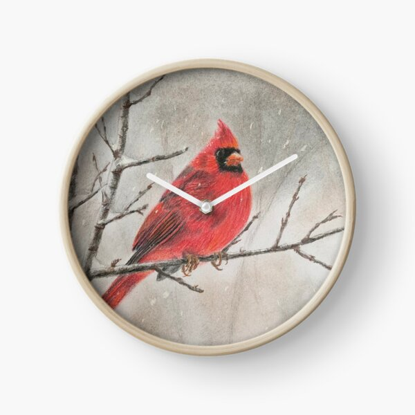 Cardinal in Winter Clock