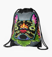 Day of the Dead French Bulldog in Black Sugar Skull Dog Drawstring Bag