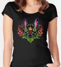 Day of the Dead French Bulldog in Black Sugar Skull Dog Fitted Scoop T-Shirt