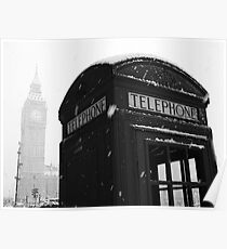 London Icons in the Snow Poster
