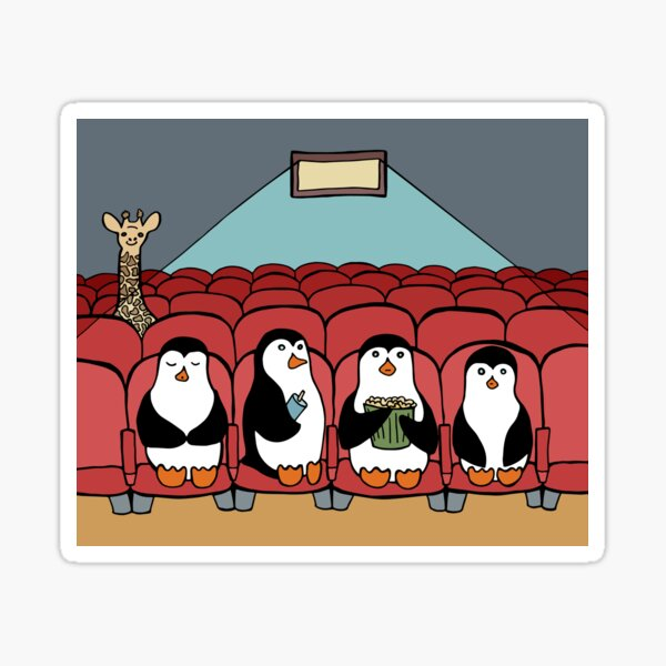 Penguin Family at the Movies Sticker