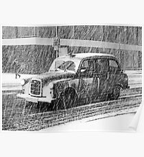 London Taxi in the Snow Poster