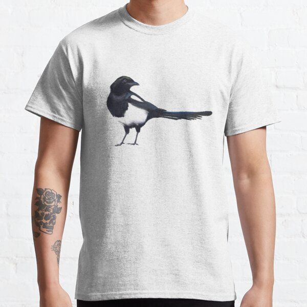 Black-billed magpie - charcoal drawing Classic T-Shirt