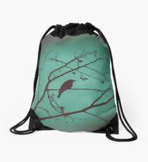 Black Bird Blue Drawstring Bag