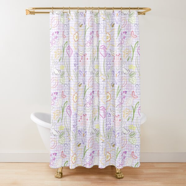 When You Need A Little Spring in Lilac Gingham by Tea with Xanthe Shower Curtain
