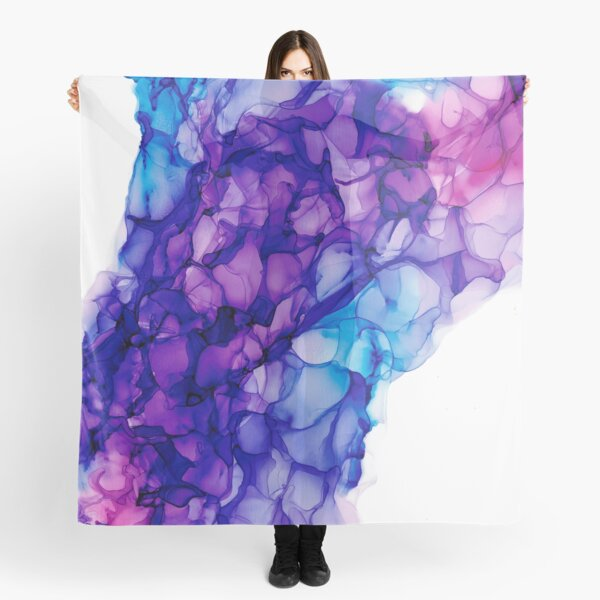Purple Force of Nature: Original Abstract Alcohol Ink Painting Scarf