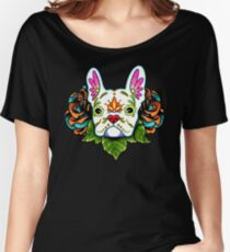 Day of the Dead French Bulldog in White Sugar Skull Dog Women's Relaxed Fit T-Shirt