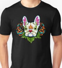Day of the Dead French Bulldog in White Sugar Skull Dog Unisex T-Shirt