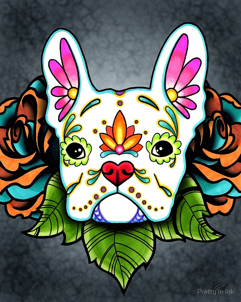 Day of the Dead French Bulldog in White Sugar Skull Dog by prettyinink