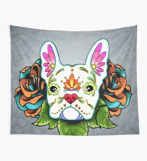 Day of the Dead French Bulldog in White Sugar Skull Dog Wall Tapestry