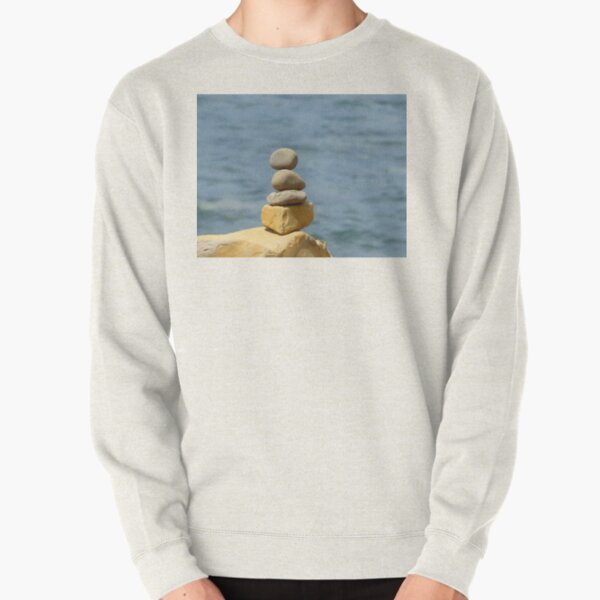 Calming Stacked Pebbles Water Background Pullover Sweatshirt