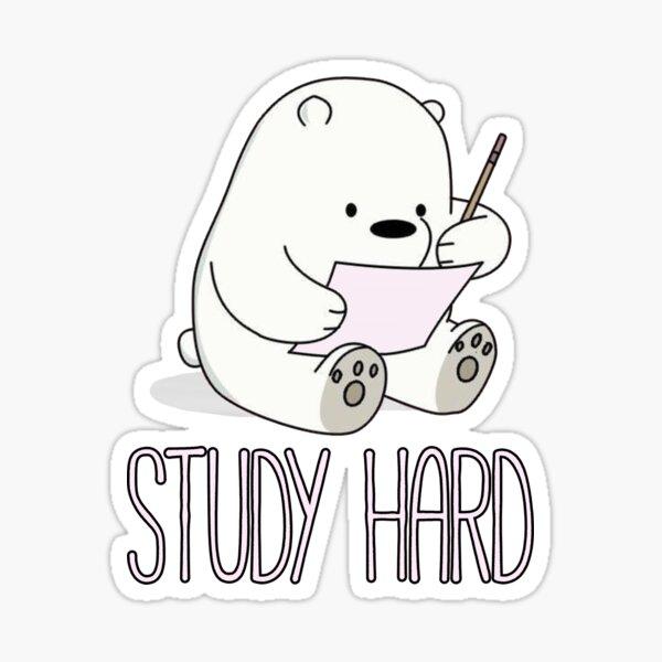Baby Ice Bear Study Hard Sticker