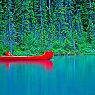Red Canoes On Green Water by Robert Goulet