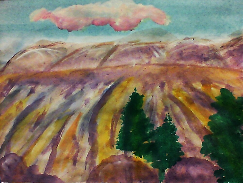 Mesa Grande, watercolor by Anna  Lewis, blind artist