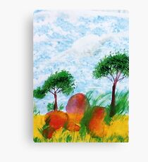 Trees and Rocks, Africa Series, watercolor Canvas Print