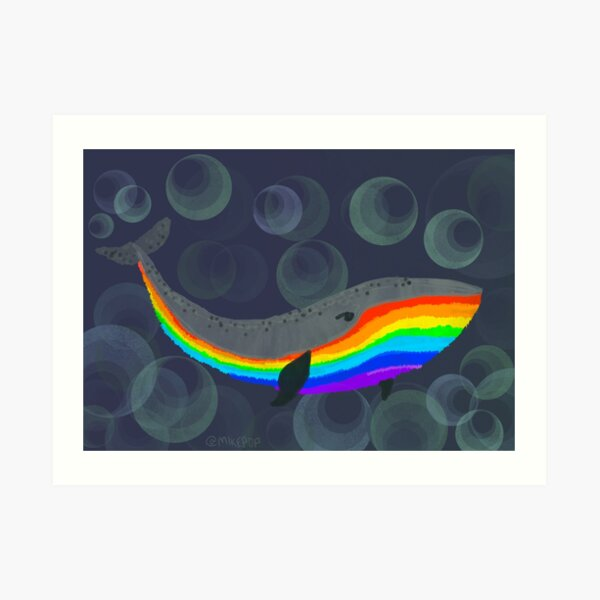 Rainbow Whale Art Print