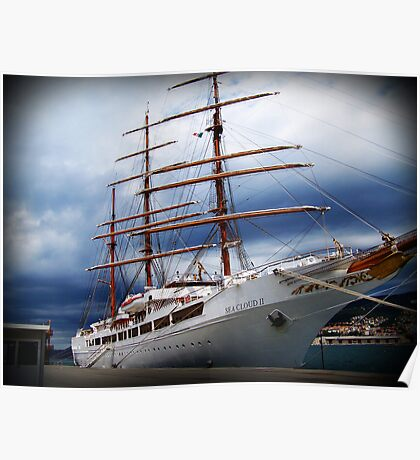 Ship on a stormy sea Poster