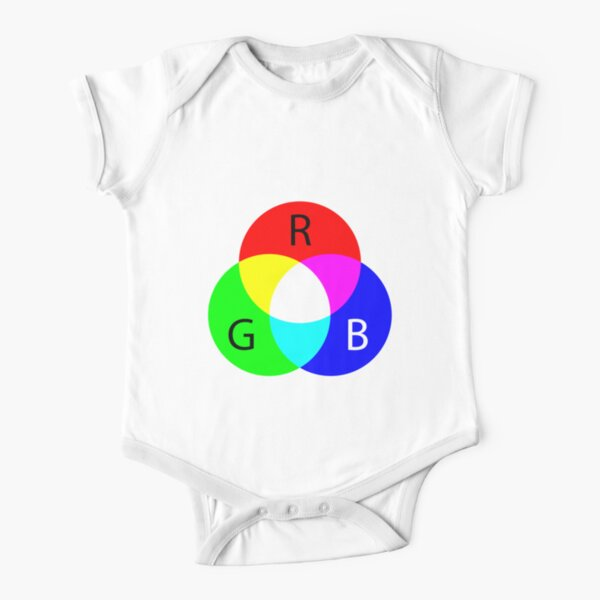 Primary RGB Colors: Red, Green, Blue - and their Mixing Short Sleeve Baby One-Piece