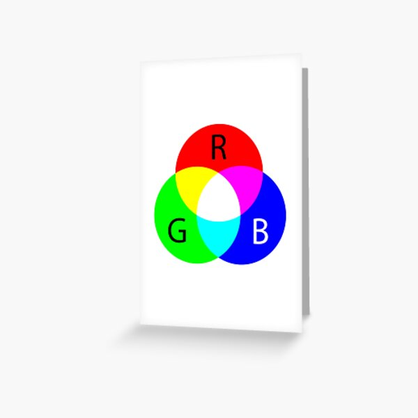 Primary RGB Colors: Red, Green, Blue - and their Mixing Greeting Card