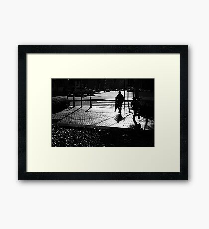 Father And Son Running Framed Print