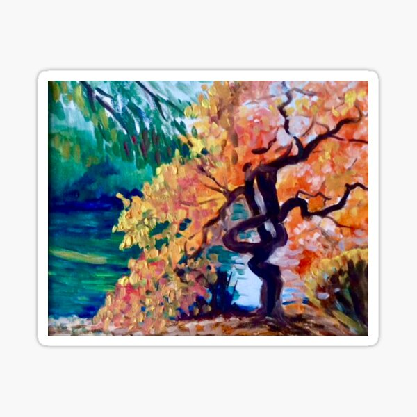 Twisted tree by the river by American Artist Hilary J. England Sticker
