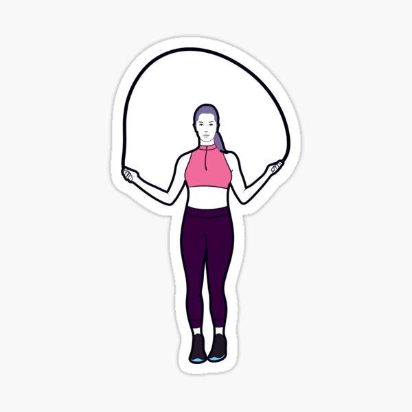 Woman jump roping Sticker