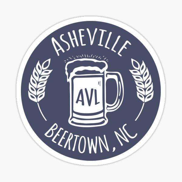 Asheville Beertown, NC - White on Bluegrey Sticker