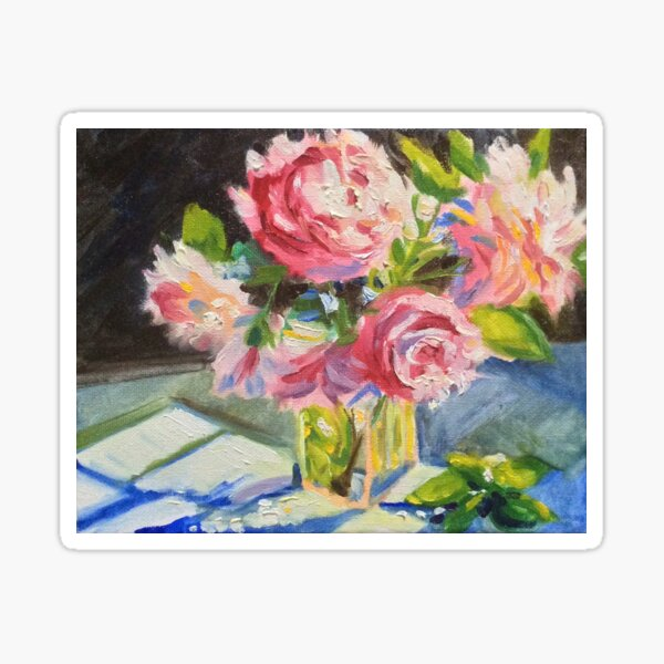 Pink flowers and cool evening shadows by American Artist Hilary J. England Sticker