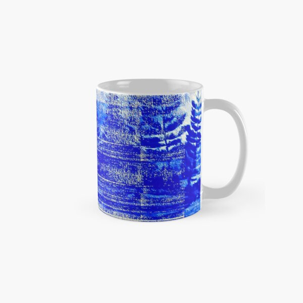 Snow covered trees blue Classic Mug