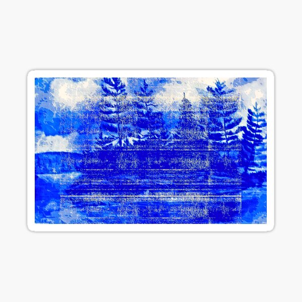 Snow covered trees blue Sticker