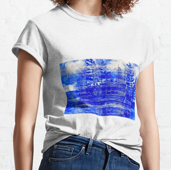 Snow covered trees blue Classic T-Shirt