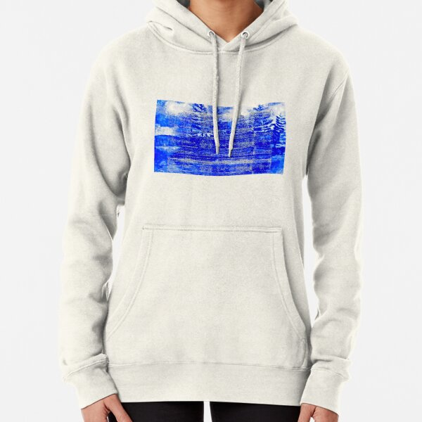 Snow covered trees blue Pullover Hoodie
