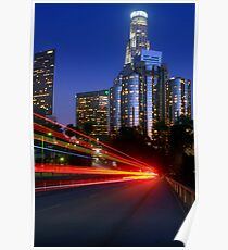 Downtown Los Angeles at Night Poster