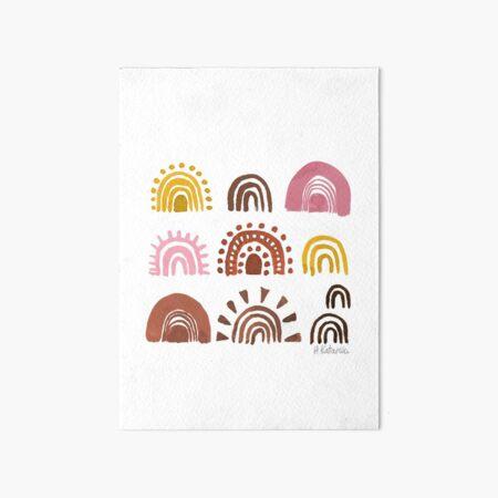 Rust Rainbows - Earthy toned, boho watercolour rainbows Art Board Print