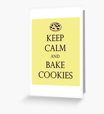Yellow Keep Calm and Bake Cookies Greeting Card