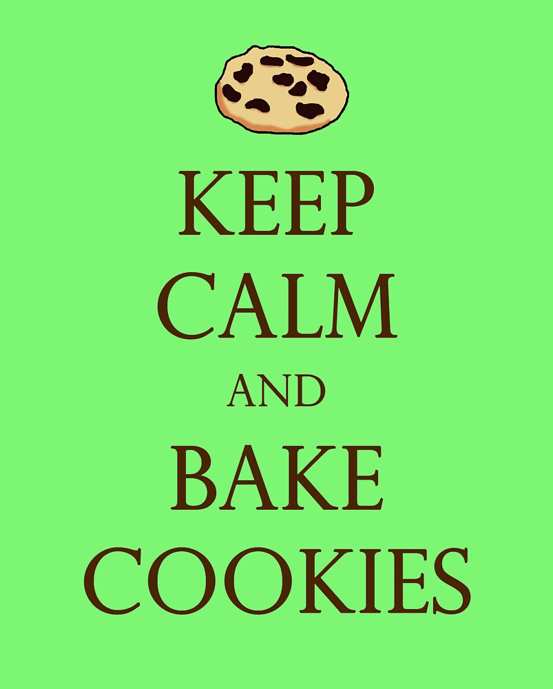 Green Keep Calm and Bake Cookies by Emily Clarke