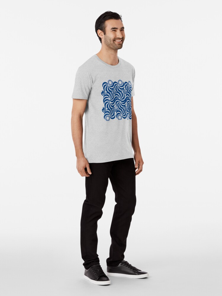 Alternate view of  new fashion style line pattern blue sea  abstract, curve, line, black, pattern, curves, nature, shape, simple, Premium T-Shirt