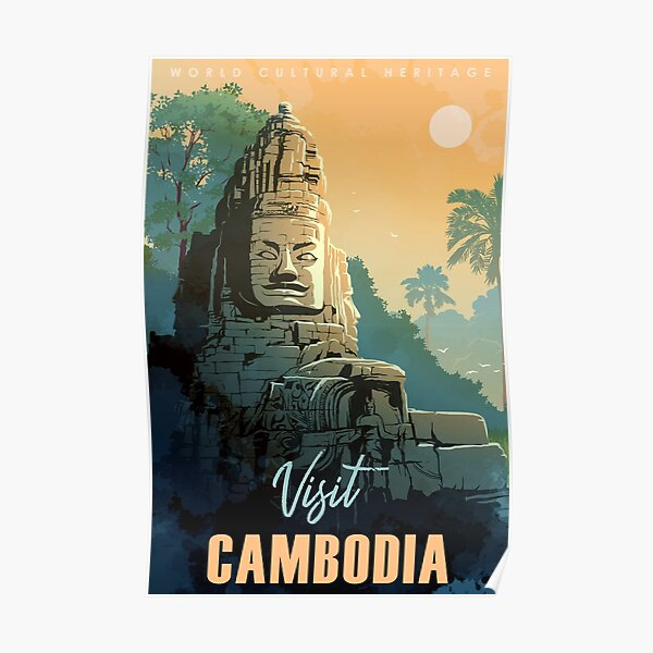 Buddha Temple in Angkor Wat, Cambodia. Vintage travel poster. Poster