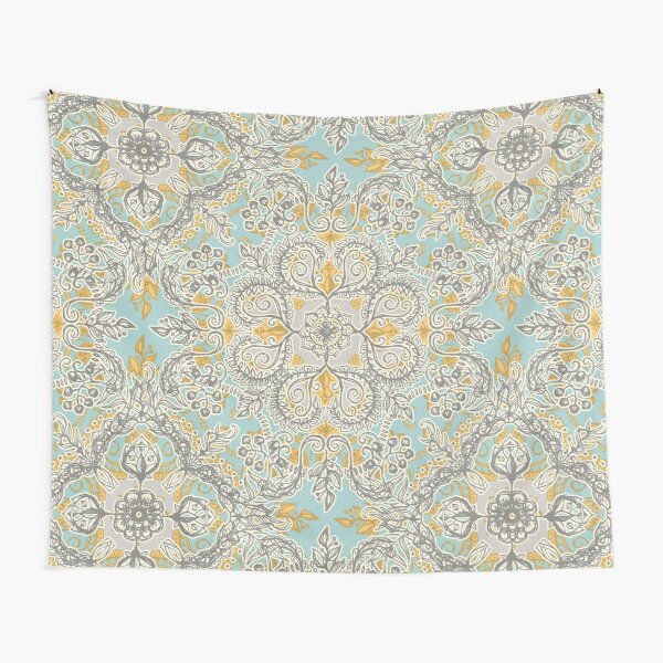 Gypsy Floral in Soft Neutrals, Grey & Yellow on Sage Tapestry